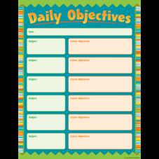 Zany Stripes Daily Objectives Chart