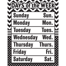 Black & White Chevron and Dots Days of the Week Chart