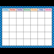 Blue Polka Dots Calendar Chart