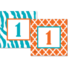 Orange and Teal Wild Moroccan Double-Sided Calendar Cards