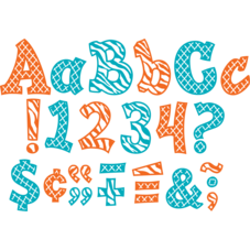 "Orange and Teal Wild Moroccan 5"" Sassy Font Letters"