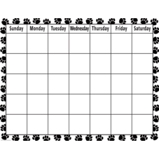 Black & White Paw Print Calendar Chart