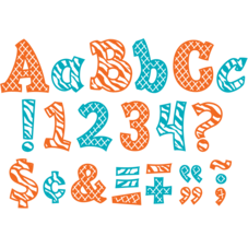 "Orange and Teal Wild Moroccan 3"" Sassy Font Letters"
