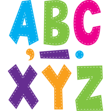 "Multi Bright Stitch 7"" Fun Font Letters"
