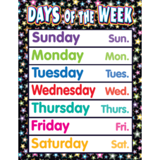 Fancy Stars Days of the Week Chart