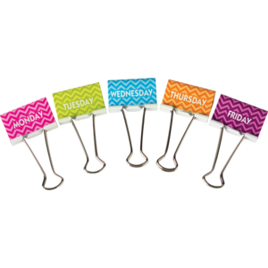 TCR20668 Chevron Days of the Week Large Binder Clips Image