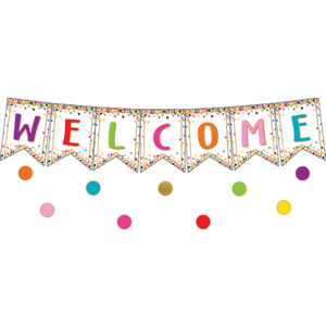 TCR3608 Confetti Pennants Welcome Bulletin Board Display Image