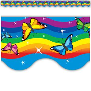 TCR4135 Rainbows Scalloped Border Trim Image