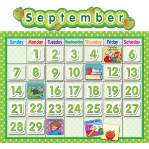 TCR4188 Polka Dot School Calendar Bulletin Board Image