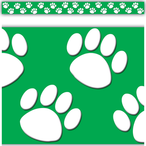 TCR4552 Green/White Paw Prints Straight Border Trim Image