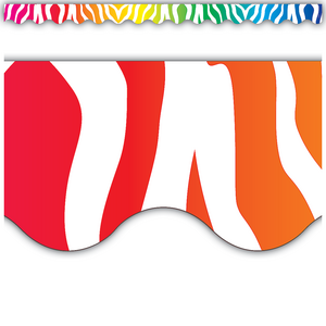 Zebra Rainbow Scalloped Border Trim Image