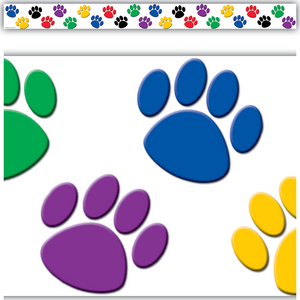 Colorful Paw Prints Straight Border Trim Image