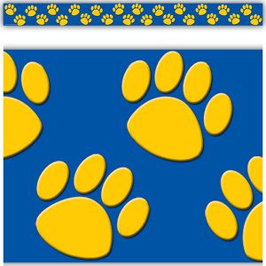 TCR4643 Gold/Blue Paw Prints Straight Border Trim Image