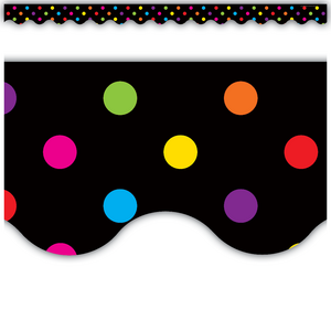 TCR4648 Multicolor Dots on Black Scalloped Border Trim Image