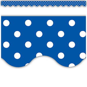 TCR4666 Blue Mini Polka Dots Scalloped Border Trim Image