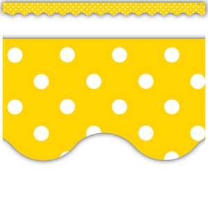 TCR4668 Yellow Mini Polka Dots Scalloped Border Trim Image