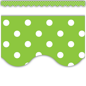 TCR4669 Lime Mini Polka Dots Scalloped Border Trim Image