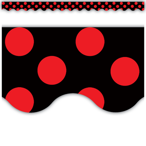 TCR4677 Red Polka Dots on Black Scalloped Border Trim Image