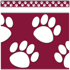 TCR4759 Maroon with White Paw Prints Straight Border Trim Image