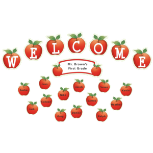 TCR4781 Apples and Dots Welcome Mini Bulletin Board Image