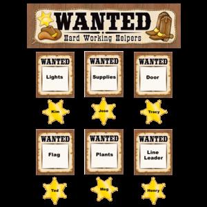 TCR4866 Wanted: Western Helpers Mini Bulletin Board Image