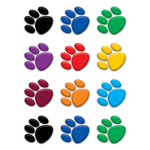 TCR5116 Colorful Paw Prints Mini Accents Image