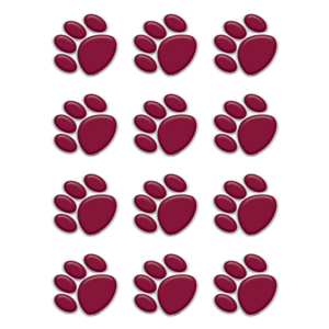 TCR5124 Maroon Paw Prints Mini Accents Image