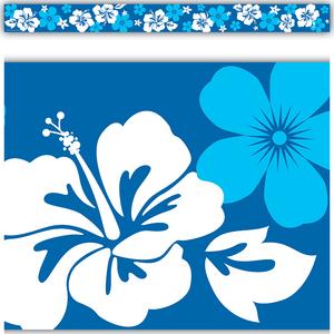 TCR5357 Blue Hibiscus Straight Border Trim Image