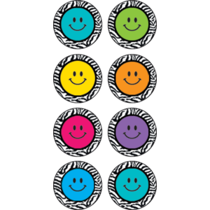 TCR5396 Zebra Happy Faces Mini Stickers Image