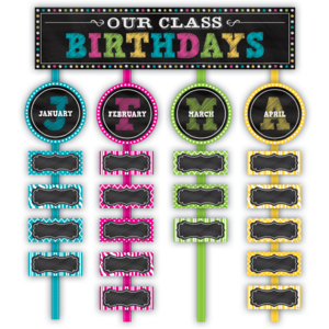 TCR5506 Chalkboard Brights Our Class Birthdays Mini Bulletin Board Image