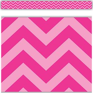 TCR5541 Hot Pink Chevron Straight Border Trim Image