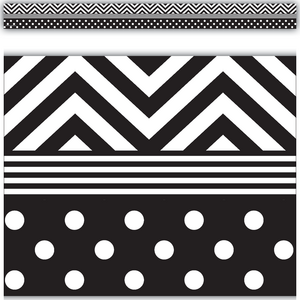 TCR5543 Black & White Chevrons and Dots Straight Border Trim Image