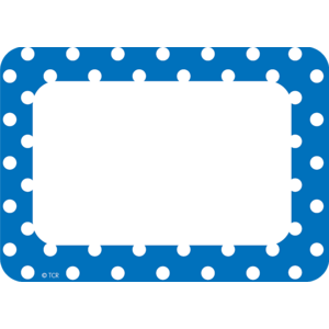 TCR5585 Blue Polka Dots Name Tags/Labels Image