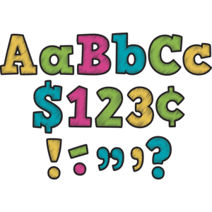 "TCR5617 Chalkboard Brights Bold Block 4"" Letters Combo Pack Image"
