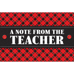 TCR5666 Plaid A Note From the Teacher Postcards Image