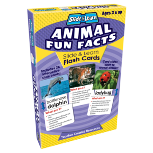 TCR6563 Animal Fun Facts Slide & Learn Flash Cards Image