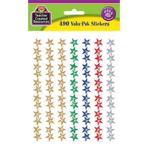 TCR6634 Assorted Sparkle Stars Stickers Valu-Pak Image