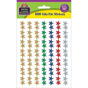 TCR6644 Assorted Foil Stars Stickers Valu-Pak Image