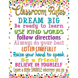 TCR7553 Confetti Classroom Rules Chart Image