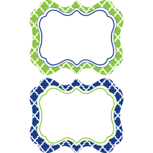 TCR77091 Navy & Lime Wild Moroccan Name Tags/Labels Image