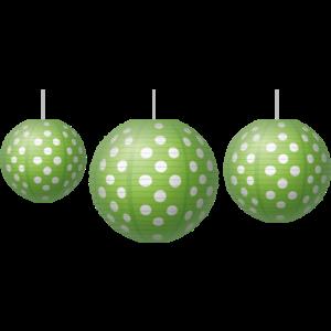 TCR77102 Lime Polka Dots Paper Lanterns Image