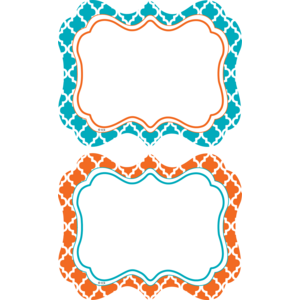 TCR77113 Orange and Teal Wild Moroccan Name Tags/Labels Image