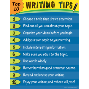 TCR7716 Top 10 Writing Tips Chart Image