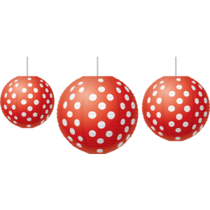 TCR77227 Red Polka Dots Paper Lanterns Image
