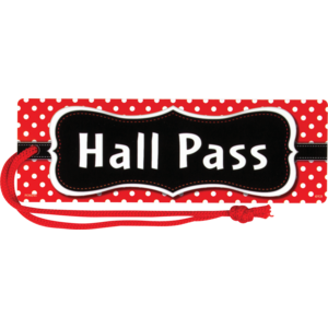 TCR77238 Red Polka Dots Magnetic Hall Pass Image
