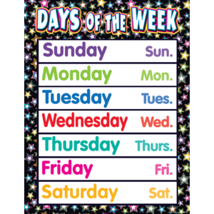TCR7755 Fancy Stars Days of the Week Chart Image