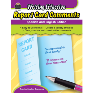 TCR8858 Writing Effective Report Card Comments: Spanish and English Edition Image