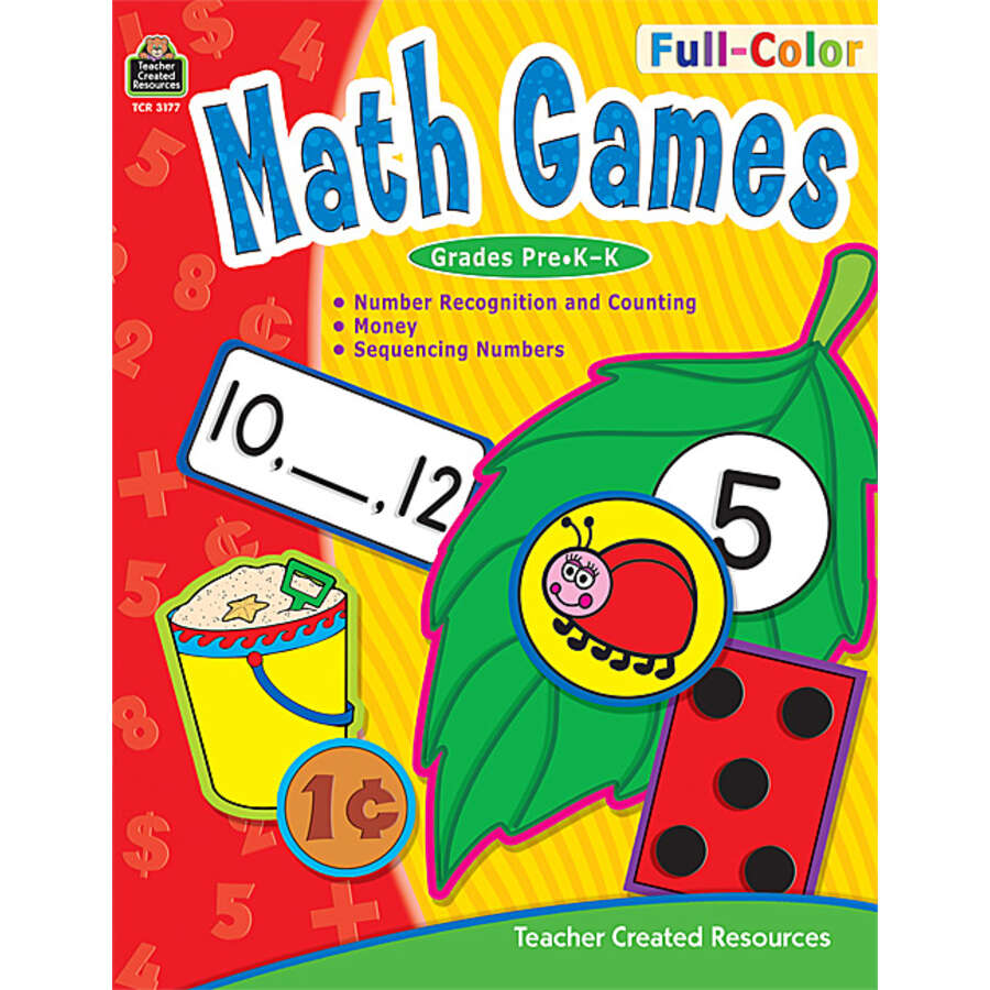 Color games for pre k - Tcr3177 Full Color Math Games Image