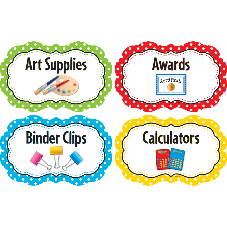 Polka Dots Classroom Supply Labels Tcr3565 Teacher