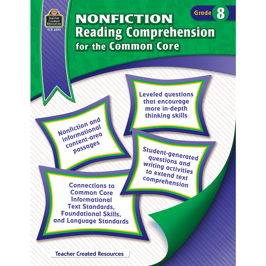 nonfiction reading comprehension for the common core grade 8 tcr3833 teacher created resources. Black Bedroom Furniture Sets. Home Design Ideas